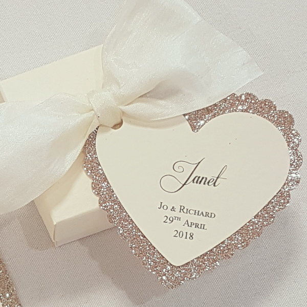 gold glitter heart tag