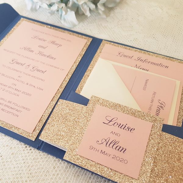 glitterati champagne blush and navy pocketfold