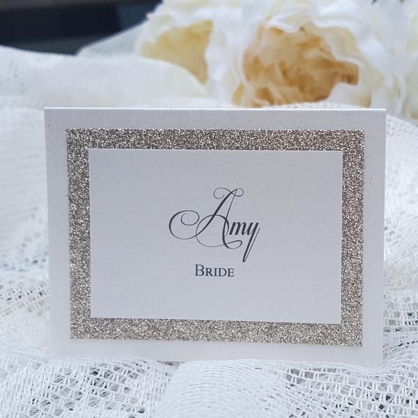 glitterati champagne place card