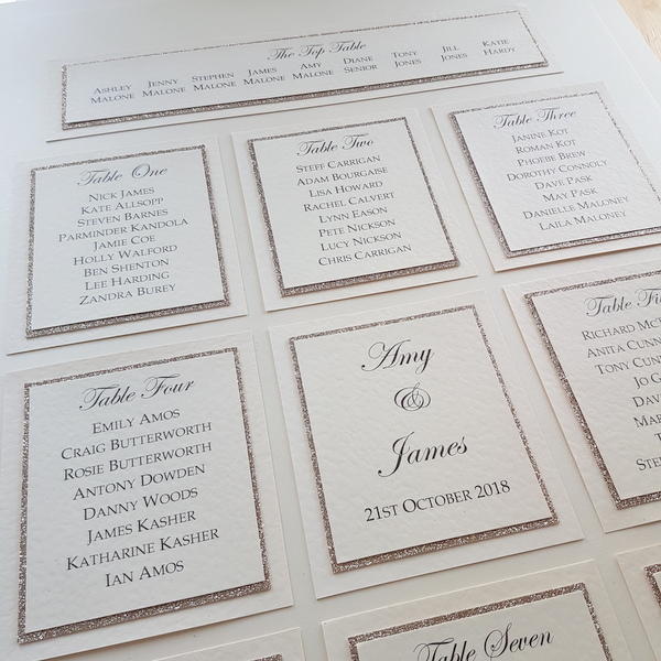 subtle silver glitter wedding table plan