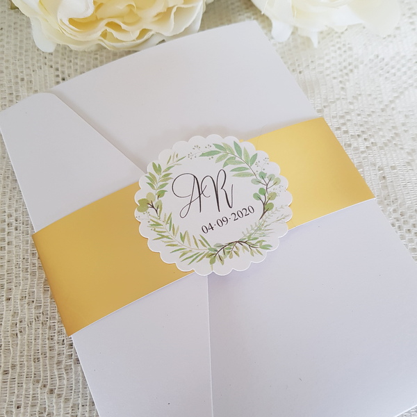 gold and greenery pocketfold invitation