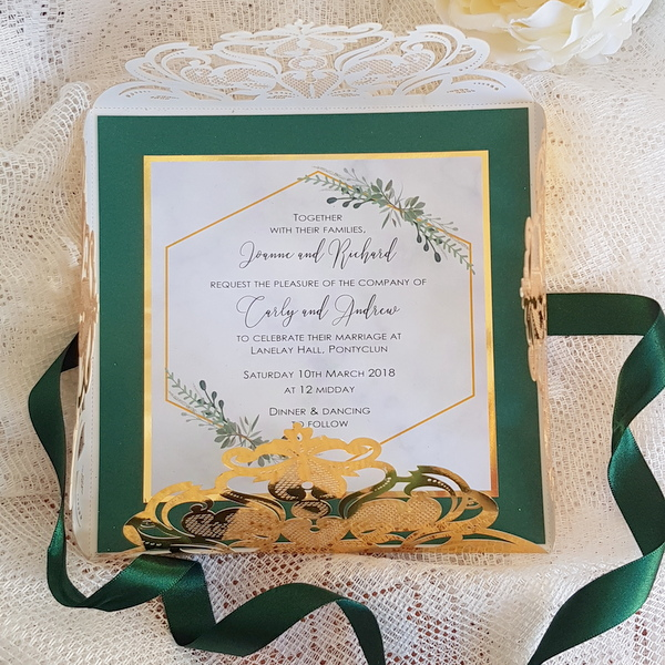 gold foil and green laser cut wedding invitation