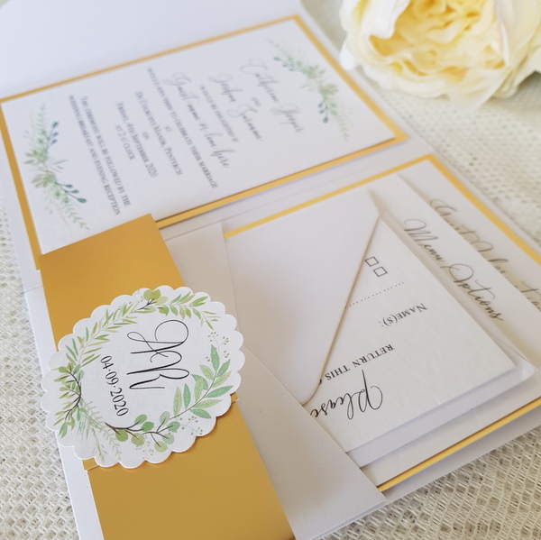greenery and gold wedding invitation