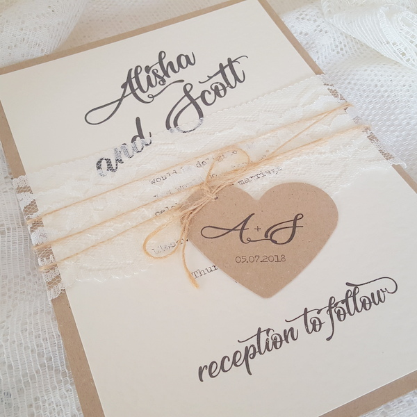 rustic wedding invitation with lace and twine bellyband