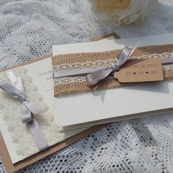 wedding invitations with hessian lace and grey ribbon