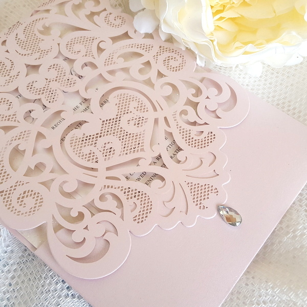blush laser cut pocket invitation