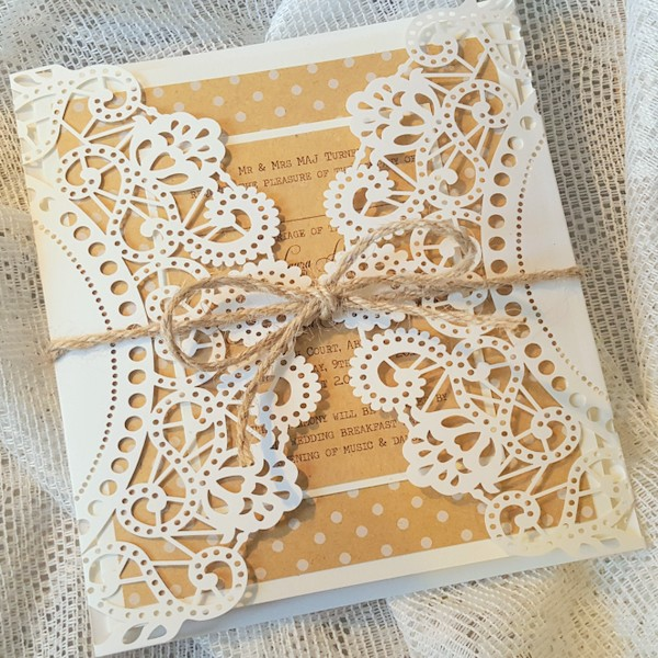 kraft doily invitation with twine
