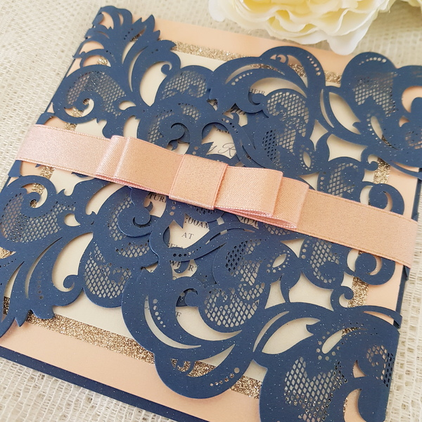navy and coral wedding invitation