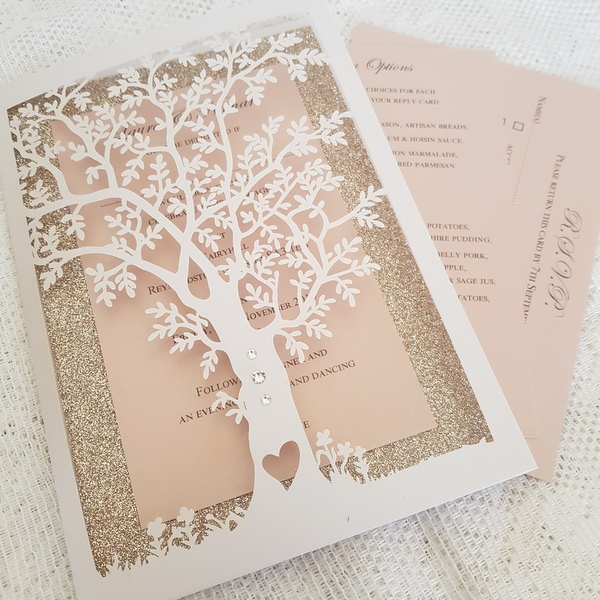 blush and glitter tree wedding invitation