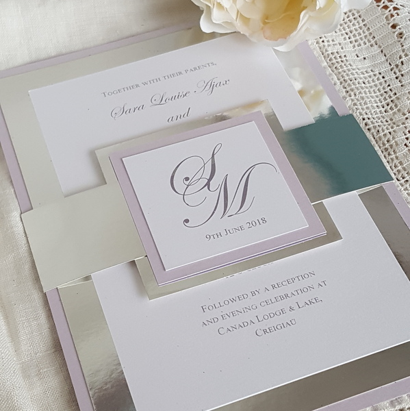 lilac and chrome metallic bellyband invitation