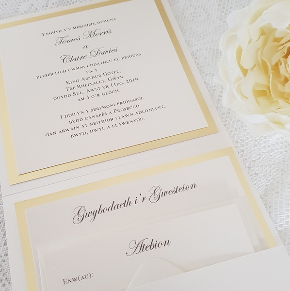 gold and ivory pocketfold insert welsh