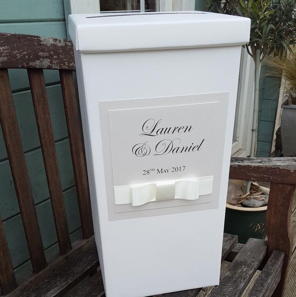 elegant ivory wedding post box
