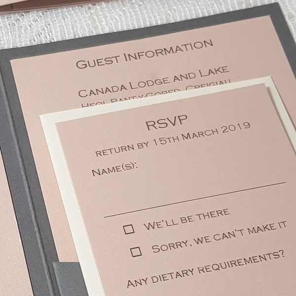 blush and grey rsvp card