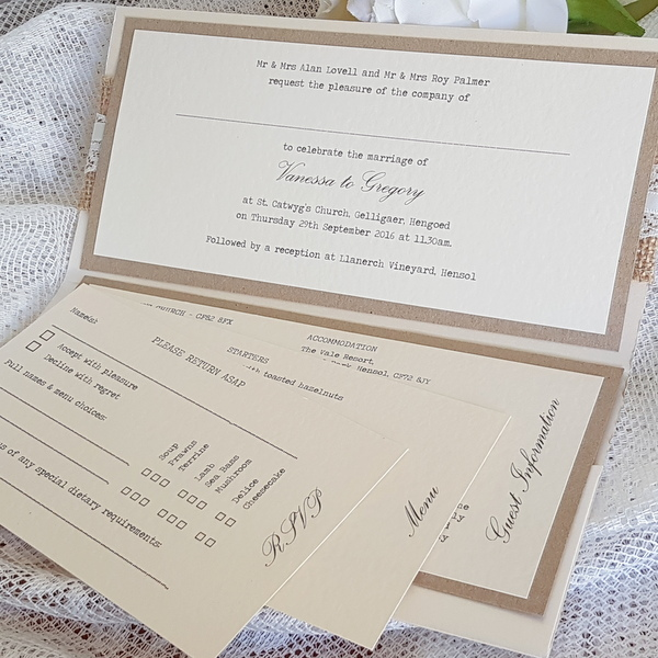 rustic pocketfold invitation