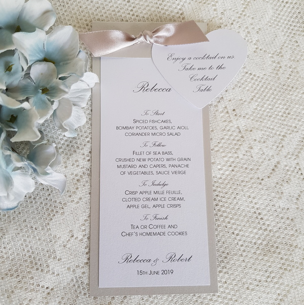 wedding menu with cocktail token