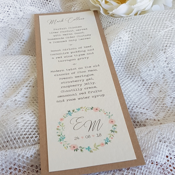 wedding menu with rustic flower wreath