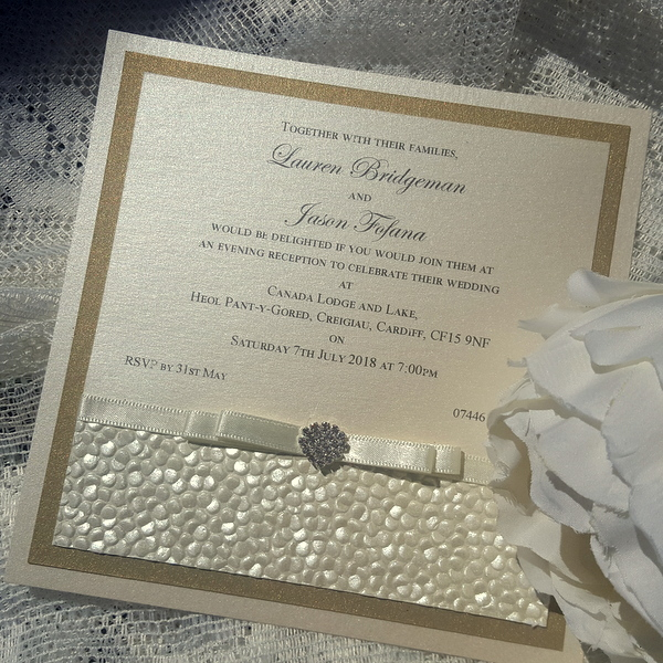 sequin sparkle ivory gold evening invitation