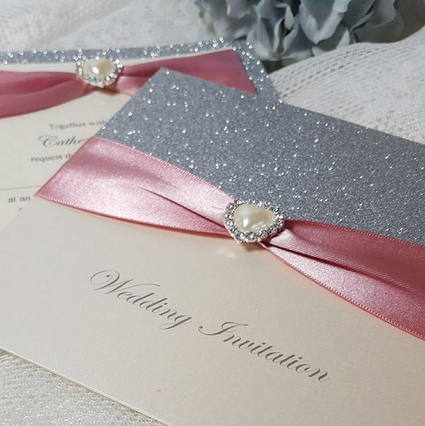 silver glitter and dusky pink wedding invitations