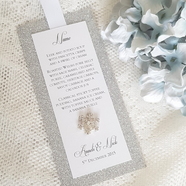silver glitter snowflake personalised wedding menu