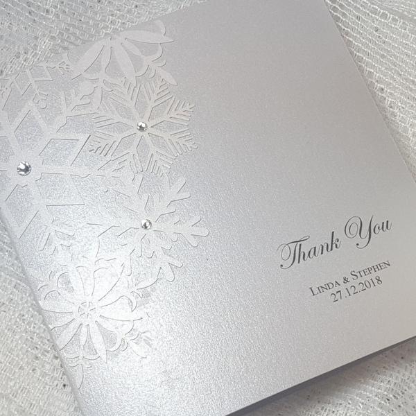 laser cut snowflake thank you card