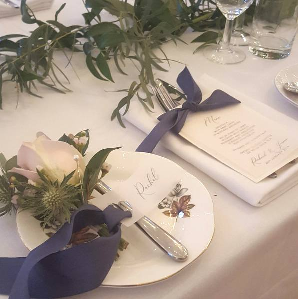 wedding place setting with vellum stationery