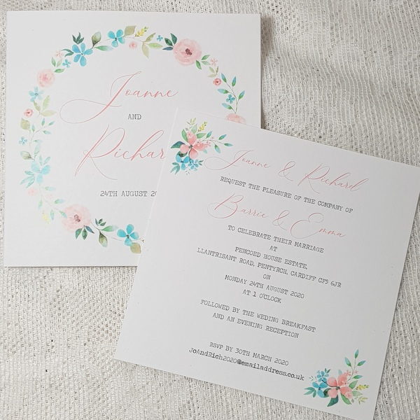 rustic floral double sided invitation