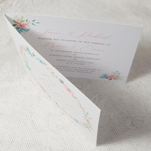 rustic floral folded wedding invitation