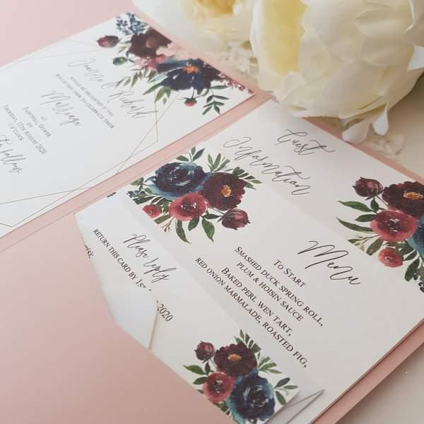 blush and burgundy floral wedding invitation
