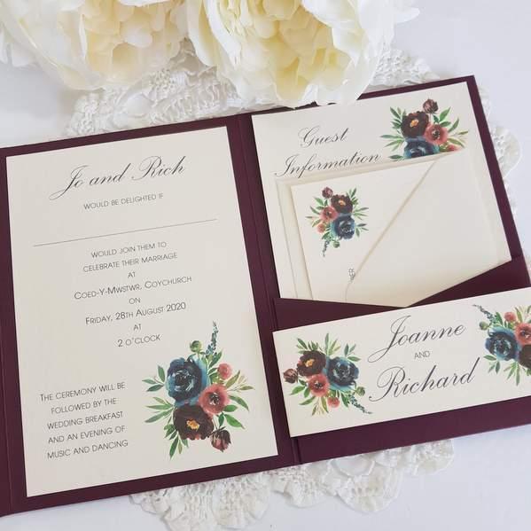burgundy pocketfold handmade invitation with flowers