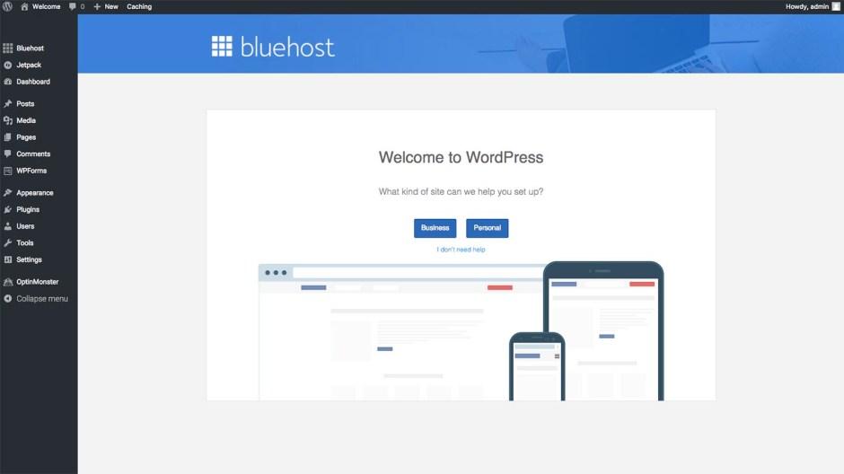 How to start a WordPress blog with Bluehost - WordPress dashboard