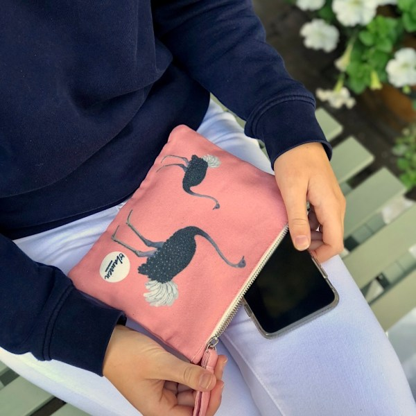 ostrich party clutch small