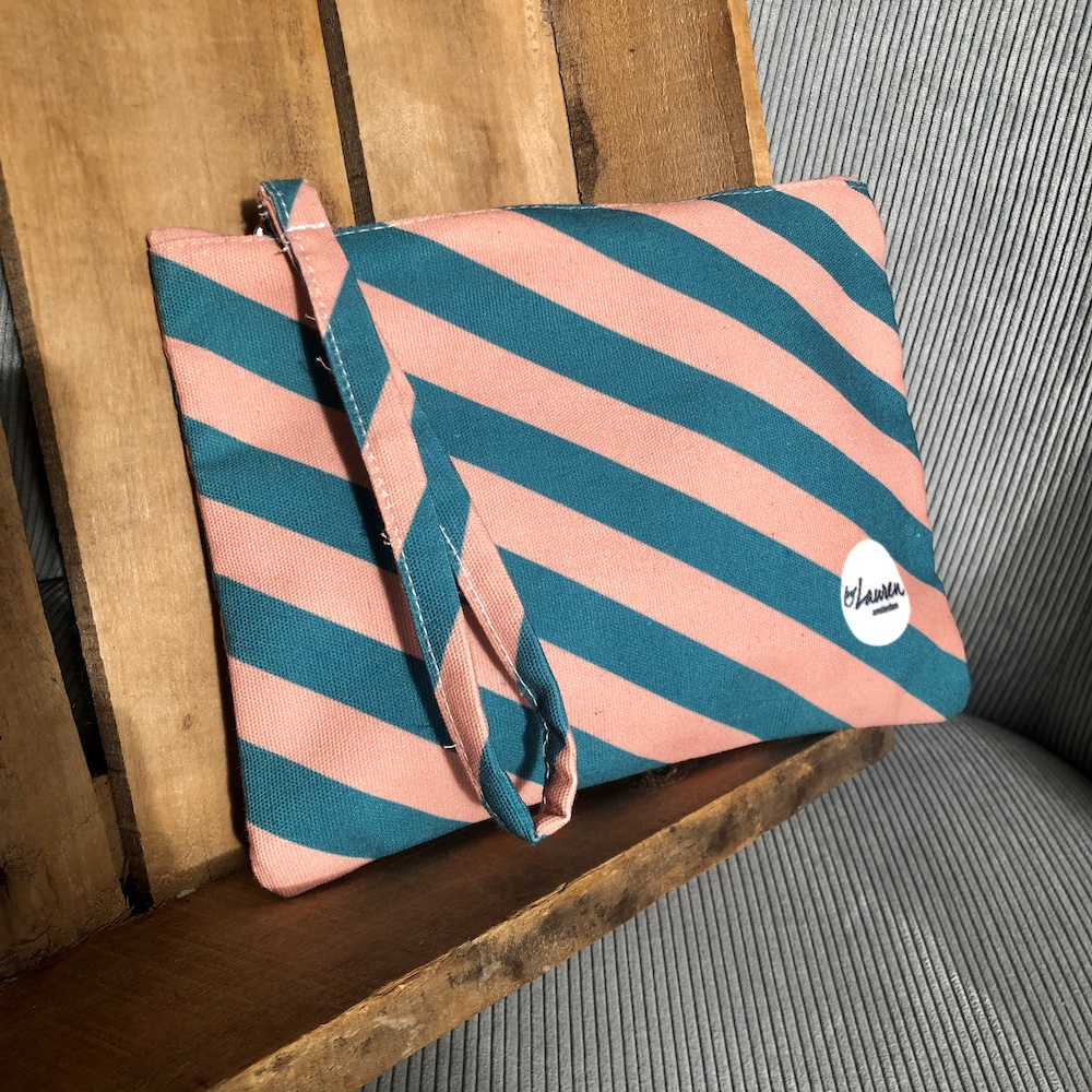 we are stripes green pink clutch small