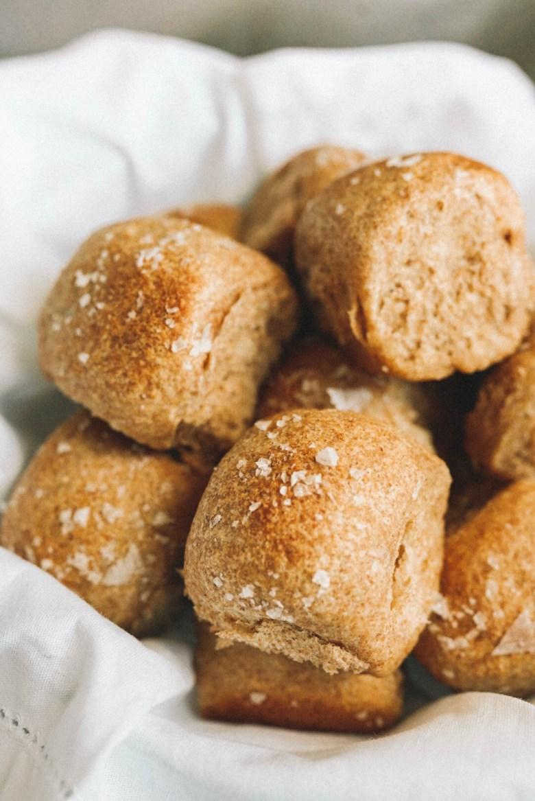 soft whole wheat dinner rolls in bread basket