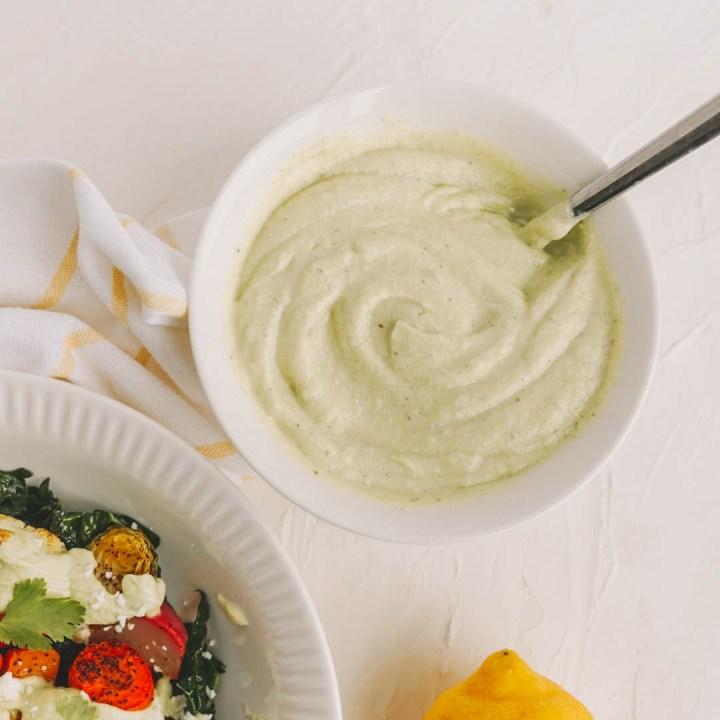 creamy salad dressing with roasted vegetable salad