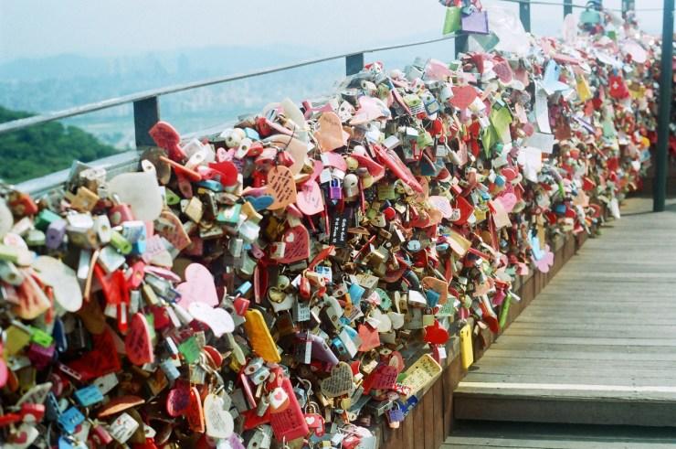 lock bridge namsan tower