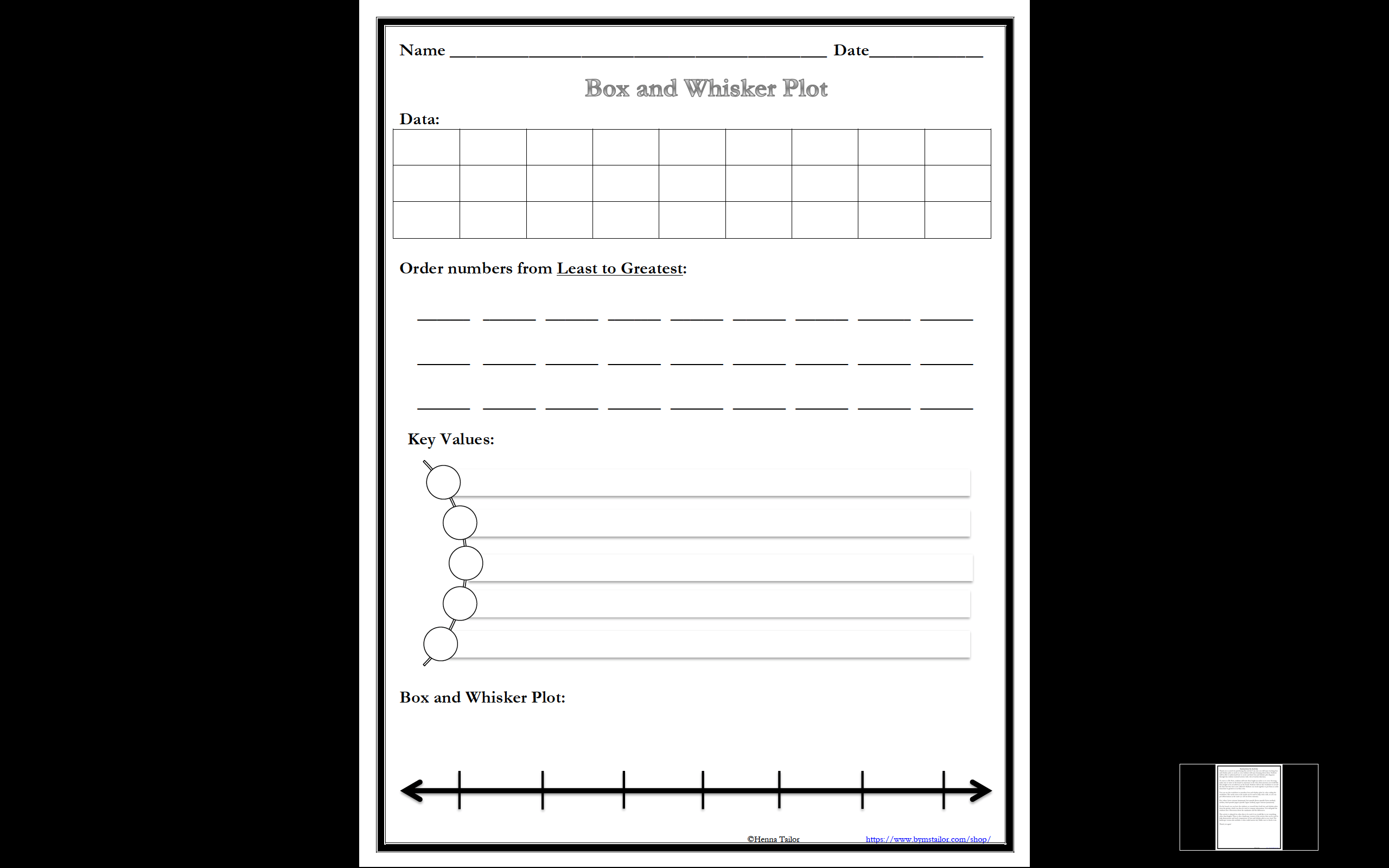 Free Box And Whisker Plot Activity Math Resources By Ms