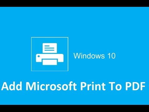 How to add or install the PDF printer in Windows 10