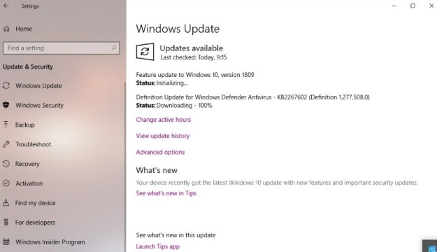 How to install Windows 10 update version 1809