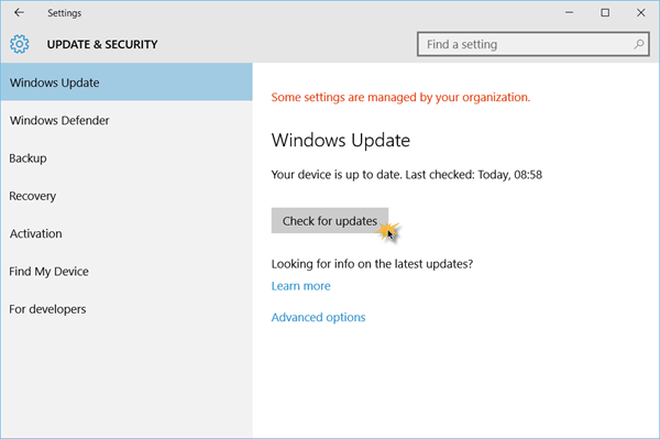 Check for updates in Windows 10 How to install Windows 10 update version 1809