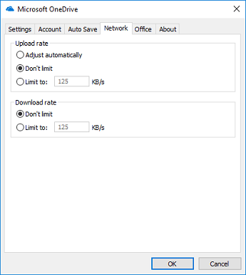 The Network tab of the OneDrive sync settings dialog box