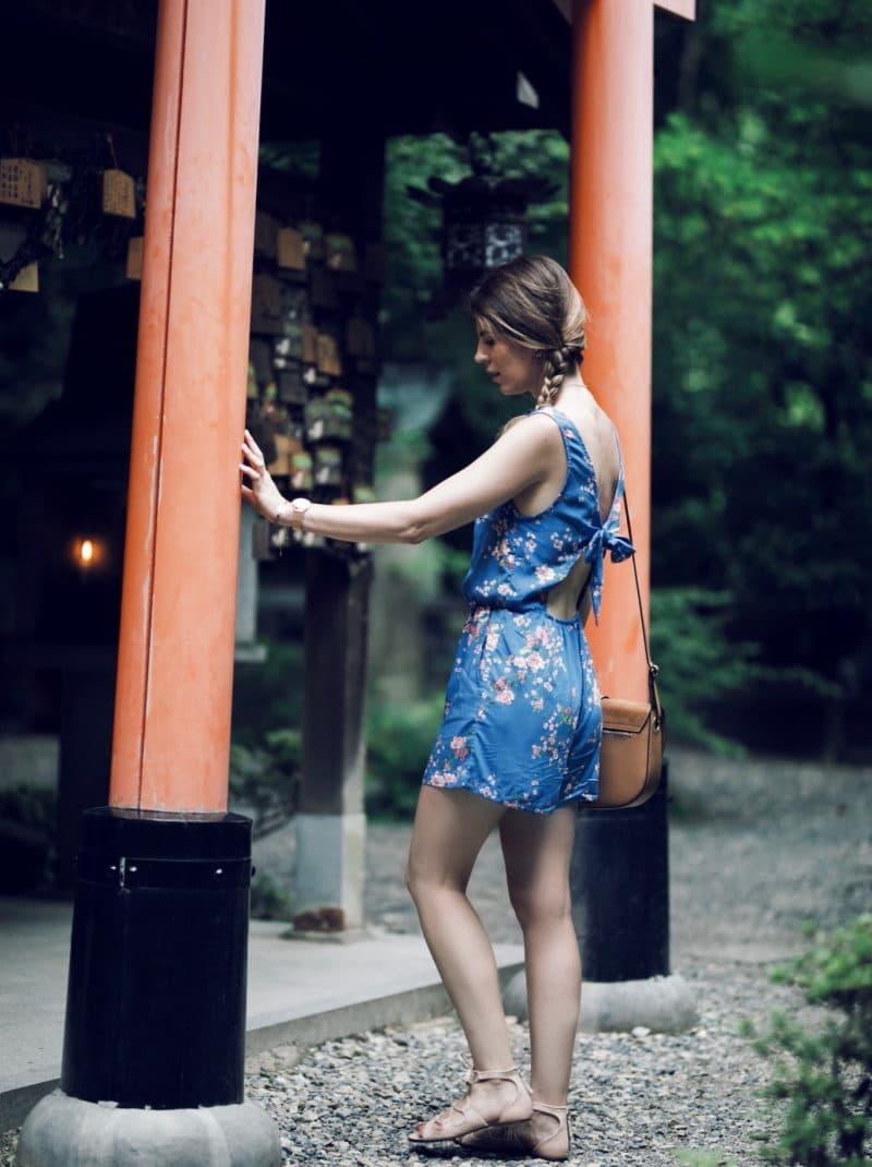 combishort fleurie kyoto sanctuaire