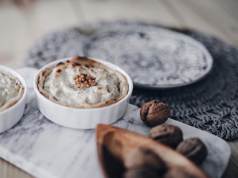 recette végétarienne tarte fenouil, fromage et noix côté