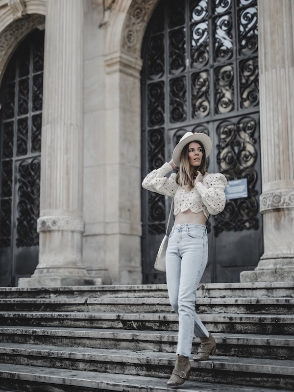 Inspiration look femme été 2019 crop top en crochet Zara jean slim blog mode Lyon France By Opaline