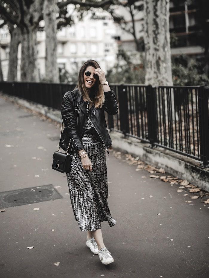 Look inspiration femme tenue rock jupe Ba&sh Bash Poly blog mode Lyon France By Opaline