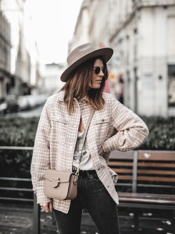 Inspiration mode look femme 2020 fashion veste oversize tweed rose