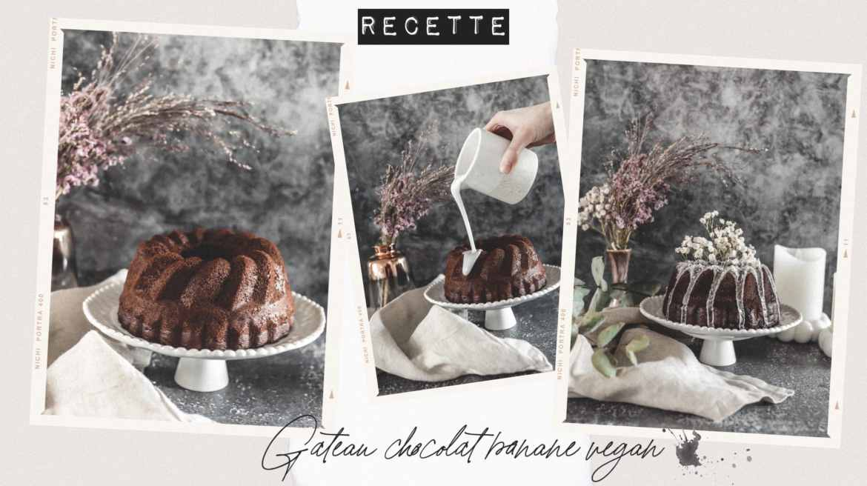 Recette gateau vegan chocolat banane glaçage coco et fleurs séchées