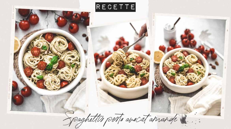 Recette vegan spaghettis pesto avocat amande et tomates cerises
