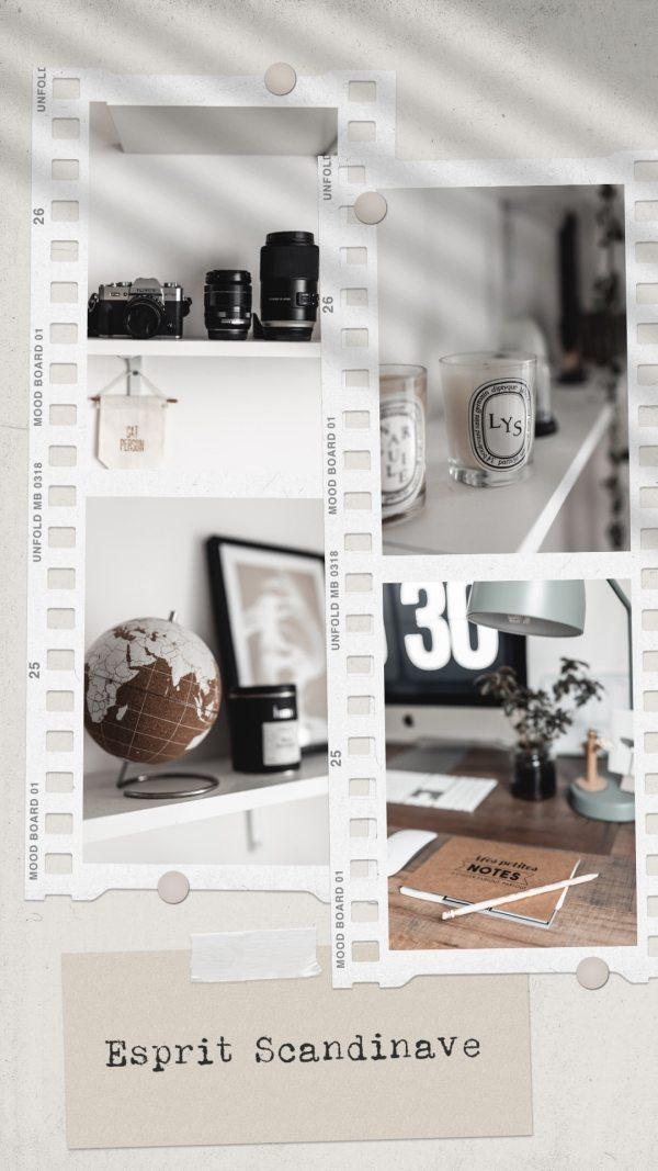 Décoration du bureau avec DIY bureau bois pieds métal, ambiance scandinave, épurée et minimaliste. Travail à la maison sur mon iMac 21,5 pouces