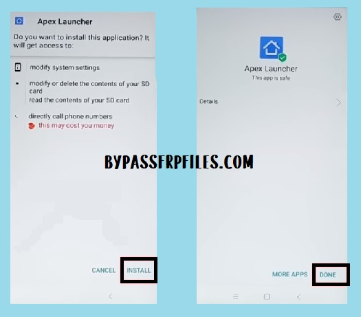 install Apex launcher to FRP unlock