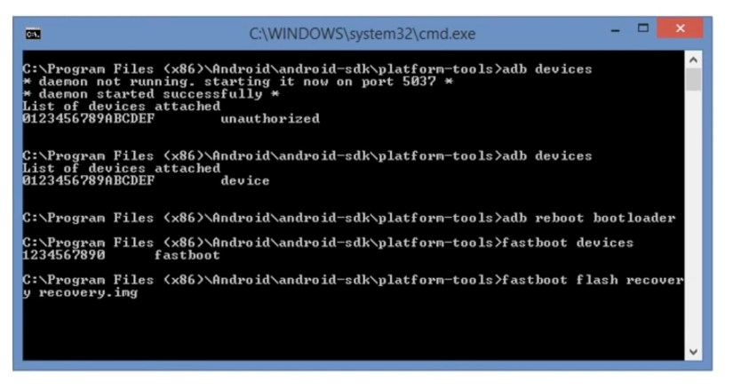 open ADB Fastboot tool to run commands